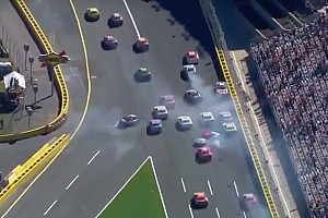 NASCAR Sprint Cup Breaking news Restart pileup takes out several contenders - video