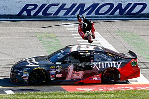 NASCAR Sprint Cup Race report Carl Edwards knocks Kyle Busch out of the way to win at Richmond