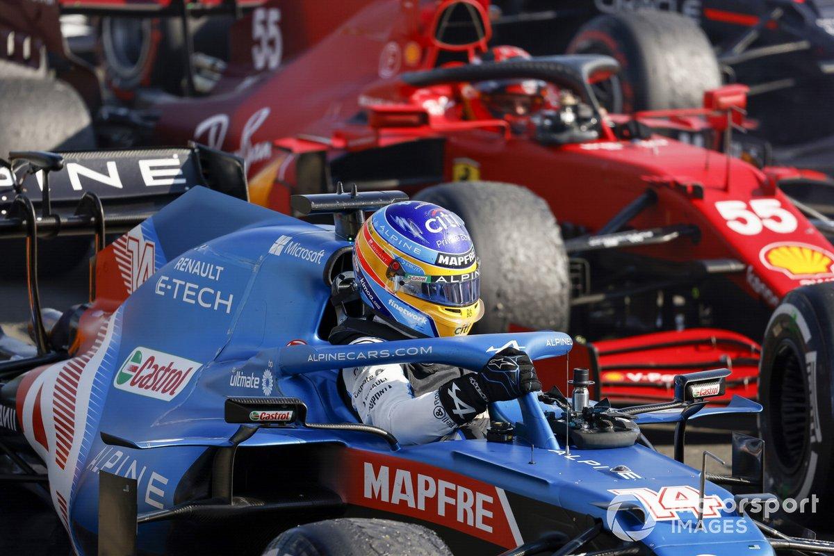Fernando Alonso, Alpine A521, arrives in Parc Ferme