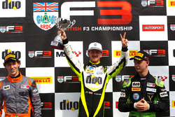 Podium: race winner Winner Ricky Collard, Carlin, second place Matheus Leist, Double R Racing, third place Toby Sowery, Lanan Racing
