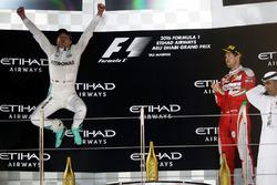 Second place Nico Rosberg, Mercedes AMG F1 celebrates his World Championship on the podium