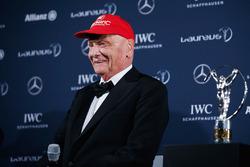 Niki Lauda, Mercedes Non-Executive Chairman with his Laureus lifetime achievement award