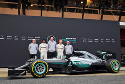 The Mercedes AMG F1 W07 Hybrid unveiling (L to R): Andy Cowell, Mercedes-Benz High Performance Powertrains Managing Director; Lewis Hamilton, Mercedes AMG F1; Toto Wolff, Mercedes AMG F1 Shareholder and Executive Director; Nico Rosberg, Mercedes AMG F1; Pa
