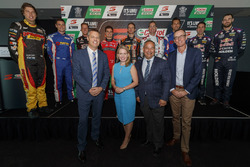 Supercars Chief Executive James Warburton, Minister for Tourism and Major Events Kate Jones, Gold Coast Mayor Tom Tate, Craig Lowndes, Jamie Whincup and James Courtney at the Q1 Tower in Surfers Paradise
