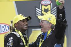 Top Fuel winner Antron Brown and Funny Car winner John Force