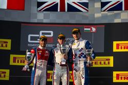 Podium: Race winner Matthew Parry, Koiranen GP; second place Antonio Fuoco, Trident; third place Jake Dennis, Arden International