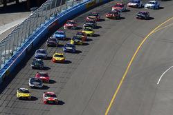 Re start action, Kyle Busch, Joe Gibbs Racing Toyota leads
