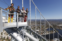 Chaz Mostert, Craig Lowndes, Jamie Whincup and James Courtney at the top of the spectacular Q1 Tower in Surfers Paradise