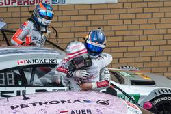 Mattias Ekström, Audi Sport Team Abt Sportsline, Audi A5 DTM, congratulates Lucas Auer, Mercedes-AMG Team Mücke, Mercedes-AMG C63 DTM