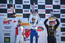 Podium GT Cup: winner Aled Udell, Global Motorsports Group, second place Sloan Urry, TruSpeed Autosport, third place Preston Calvert, Calvert Dynamics