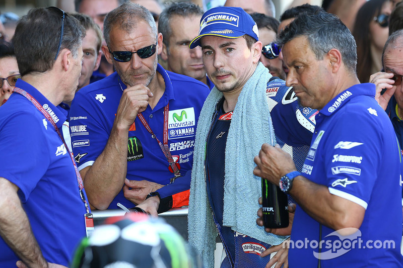 Second place Jorge Lorenzo, Yamaha Factory Racing in parc ferme