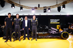 (L to R): Esteban Ocon, Renault F1 Team Test Driver with Jolyon Palmer, Renault F1 Team; Carlos Ghosn, Chairman of Renault and Kevin Magnussen, Renault F1 Team