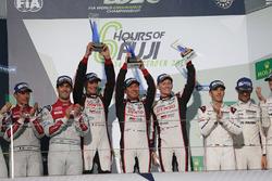 Podium: race winners #6 Toyota Racing Toyota TS050 Hybrid: Stéphane Sarrazin, Mike Conway, Kamui Kobayashi
