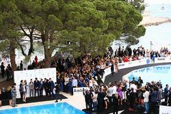 Daniel Ricciardo, Red Bull Racing; Marcus Ericsson, Sauber F1 Team; Pascal Wehrlein, Manor Racing; Esteban Ocon, Renault Sport F1 Team Test Driver; Marc Gene, Ferrari Test Driver; Rio Haryanto, Manor Racing; Felipe Nasr, Sauber F1 Team; and Jolyon Palmer, Renault Sport F1 Team, at the Amber Lounge Fashion Show