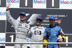 Podium: David Coulthard, McLaren Mercedes; Juan-Pablo Montoya, BMW Williams; Jarno Trulli, Renault F1 Team