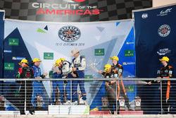 LMP2 podium: first place Gustavo Menezes, Nicolas Lapierre, Stéphane Richelmi, Signatech, second place Ricardo Gonzalez, Filipe Albuquerque, Bruno Senna, RGR Sport by Morand, third place Roman Rusinov, Alex Brundle, René Rast, G-Drive Racing