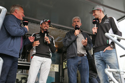 (L to R): Johnny Herbert, Sky Sports F1 Presenter; Sergio Perez, Sahara Force India F1; Damon Hill, Sky Sports Presenter; Nico Hulkenberg, Sahara Force India F1 at the Sahara Force India F1 Team Fan Zone at Woodlands Campsite