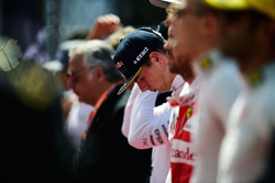 Max Verstappen, Red Bull Racing as the grid observes the national anthem