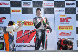 Podium GTA: winner Martin Fuentes, Scuderia Corsa, second place Drew Regitz, Stephen Cameron Racing, third place Michael Schein, Wright Motorsports