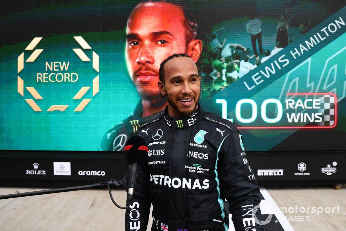 Lewis Hamilton, Mercedes, 1st position, is interviewed in Parc Ferme