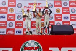 Podium: winner Alessio Picariello, second place Mick Schumacher, third place Tatiana Calderon