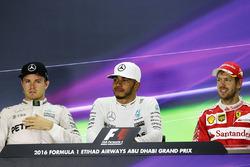 The post race FIA Press Conference: Nico Rosberg, Mercedes AMG F1, second; Lewis Hamilton, Mercedes AMG F1, race winner; Sebastian Vettel, Ferrari, third