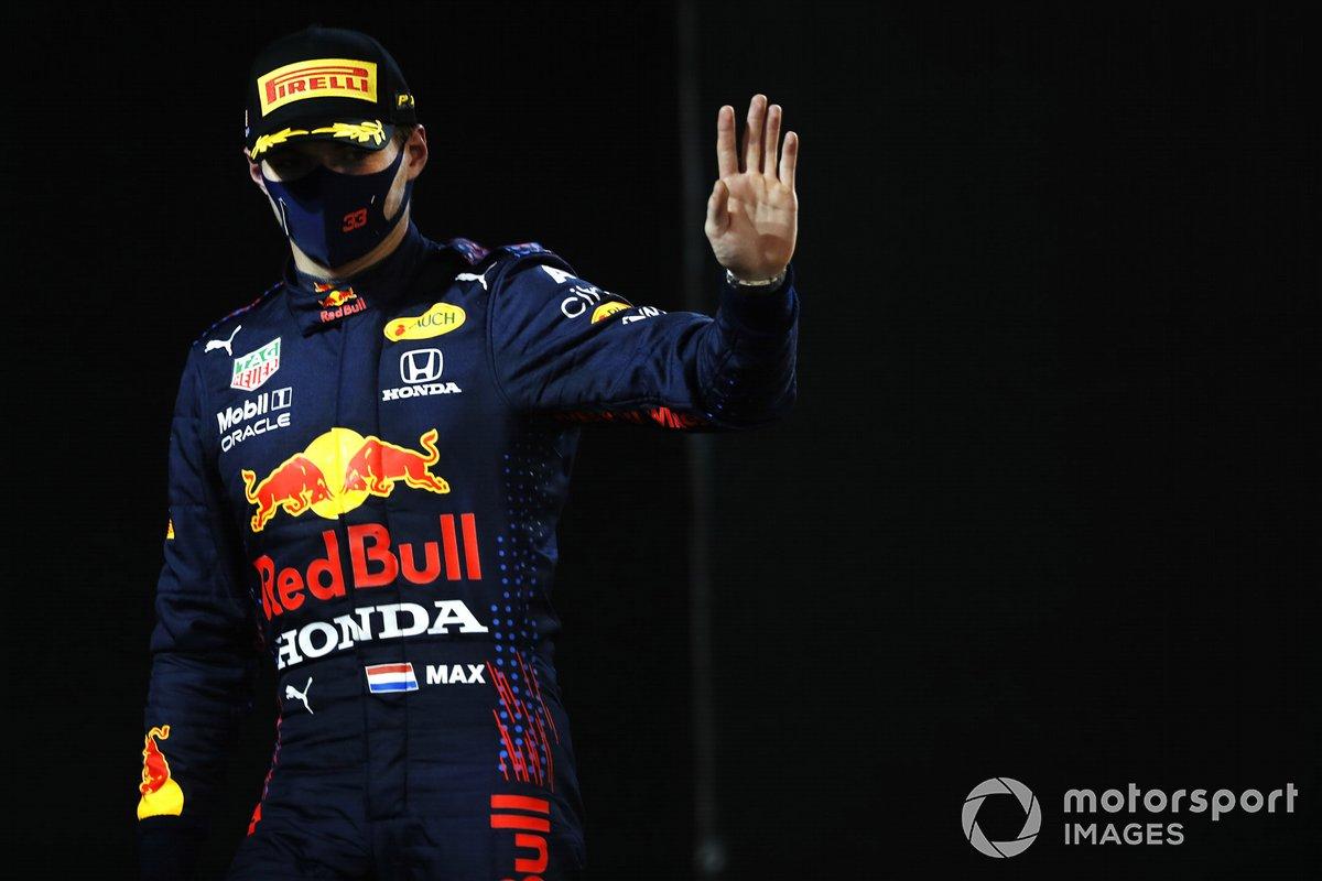 Segundo lugar Max Verstappen, Red Bull Racing en Parc Ferme