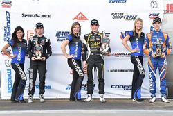 Podium: race winner Pato O'Ward, Team Pelfrey, second place Garett Grist, Juncos Racing, third place Nicolas Dapero, Juncos Racing