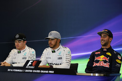 The post qualifying FIA Press Conference (L to R): Nico Rosberg, Mercedes AMG F1, second; Lewis Hamilton, Mercedes AMG F1, pole position; Daniel Ricciardo, Red Bull Racing, third
