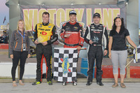NASCAR Canada Photos - Podium: Race winner Cayden Lapcevich, second place Louis-Philippe Dumoulin, third place Alex Labbé