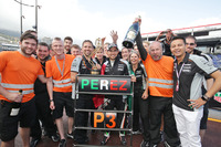 Formula 1 Photos - Sergio Perez, Sahara Force India F1 celebrates his third position with the team
