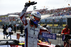 Sergey Sirotkin, ART Grand Prix steps out of his car to celebrate