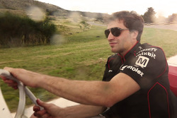 Jérôme d'Ambrosio, Dragon Racing drives a classic race car during a visit to Juan Manuel Fangio's home and museum