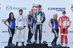 Podium: winner Kyle Kaiser, Juncos Racing, second place Ed Jones, Carlin, third place Zach Veach, Belardi Auto Racing