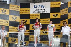 Podium: second place Jamie Green, Audi Sport Team Rosberg, Audi RS 5 DTM; Winner Miguel Molina, Audi Sport Team Abt Sportsline, Audi RS 5 DTM; third place Robert Wickens, Mercedes-AMG Team HWA, Mercedes-AMG C63 DTM
