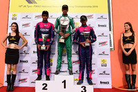 Kart Photos - Podium: Race winner Ricky Donison, BPC Racing, second place Nayan Chatterjee, Meco Racing, third place Mrinal Chatterjee, Meco Racing