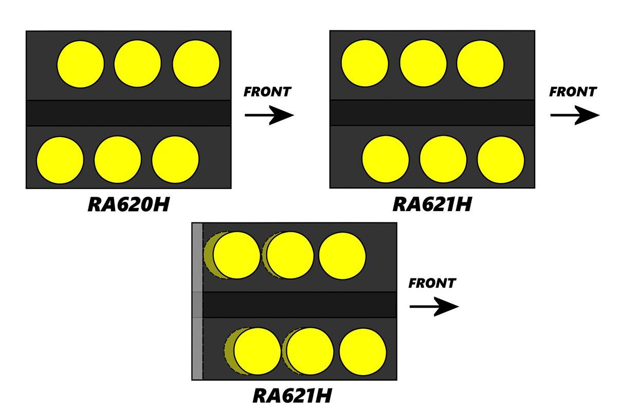 Espacio de los cilindros entre el Honda RA620H vs RA621H