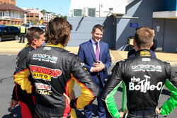 NSW Premier Mike Baird with Mark Winterbottom, James Courtney and Chaz Mostert