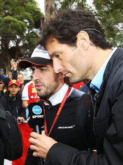 Mark Webber, Porsche Team WEC Driver and Channel 10 Presenter with Fernando Alonso McLaren