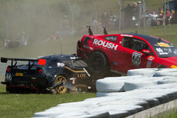 #60 Roush Performance Ford Boss 302 and #46 SDR Motorsports Lotus Evora making contact with each other at turn 3