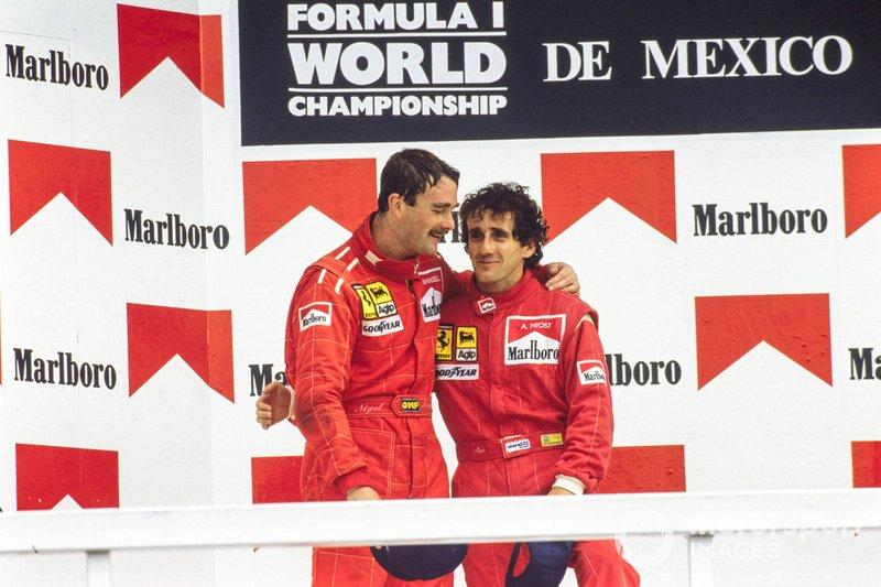 Podium: Race winner Alain Prost, Ferrari. Second place Nigel Mansell, Ferrari
