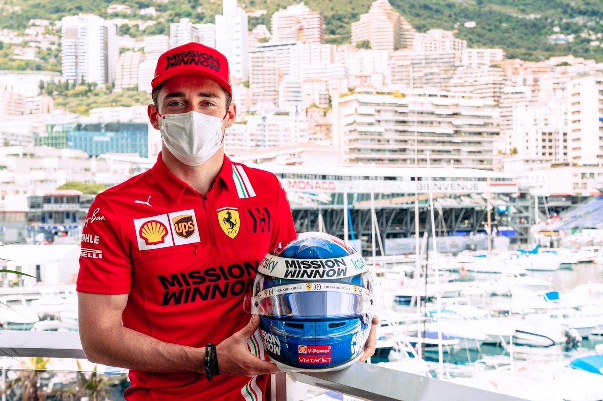 Charles Leclerc, Ferrari with his Monaco helmet