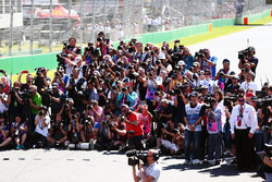 Photograhers at the drivers start of season group photograph