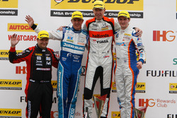 Podium: Race winner Matt Neal, Halfords Yuasa Racing; Mat Jackson, Motorbase Performance; Jason Plato, Subaru Team BMR; Sam Tordoff, Team JCT600 with GardX