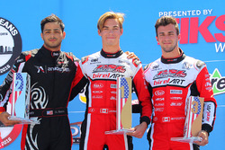 Rotax DD2 podium, Dev Gore, Jeff Kingsley and Alessandro Bizzotto