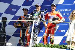 Podium: race winner Jorge Lorenzo, Yamaha Factory Racing, second place Marc Marquez, Repsol Honda Team, third place Andrea Iannone, Ducati Team