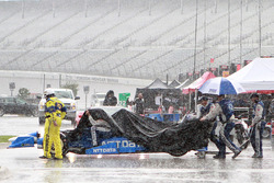 Chip Ganassi Racing crew members in the rain