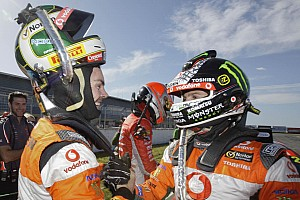 V8 Supercars TeamVodafone celebrartes Tasmania Challenge 1-2 in race 1