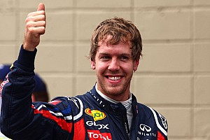 Cheeky Vettel celebrates record with Mansell moustache