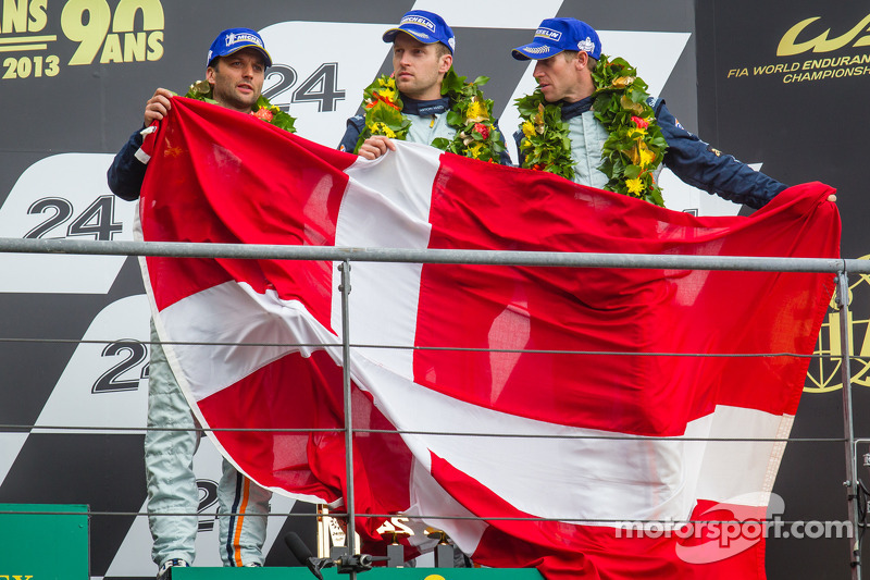 Aston Martin's Mücke third on the podium at Le Mans in the GTE Pro class